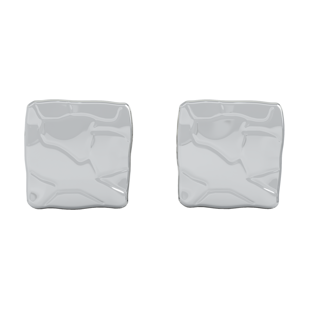 18K White Gold Square Studs No Stones