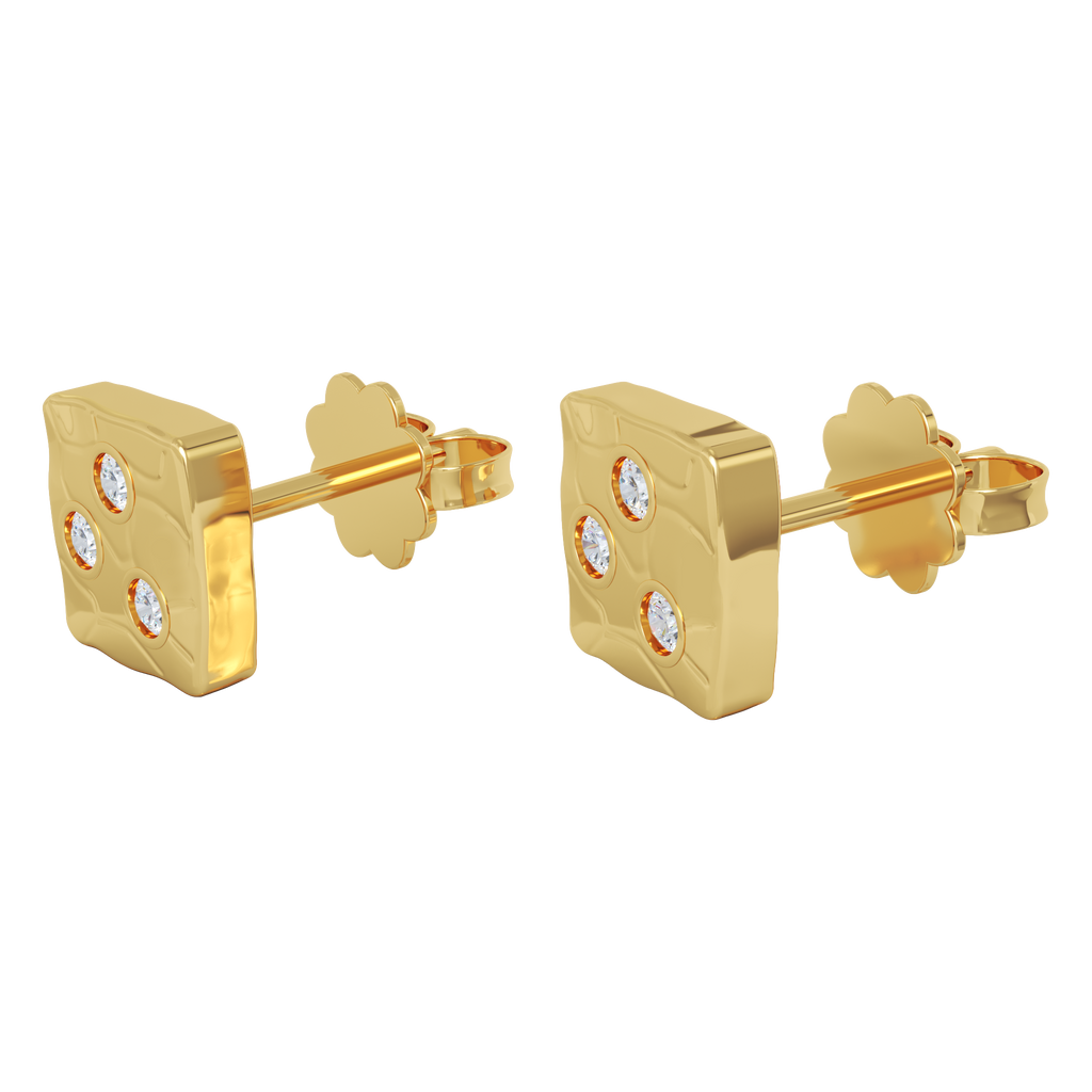 Ayesha Studio Yellow Gold with Diamonds Studs