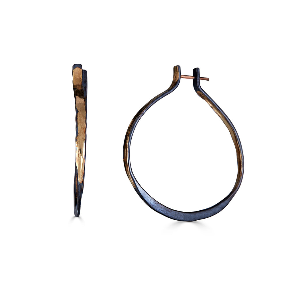 14K Gold and Sterling Silver Black and Gold Designer Hoops on IndieFaves