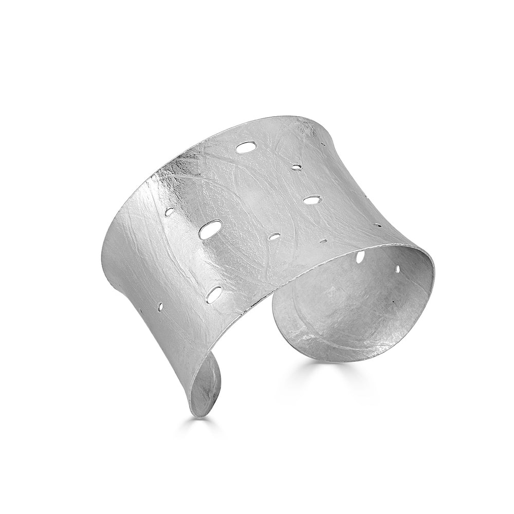 Sterling Silver Curved Wafer Designer Cuff on IndieFaves