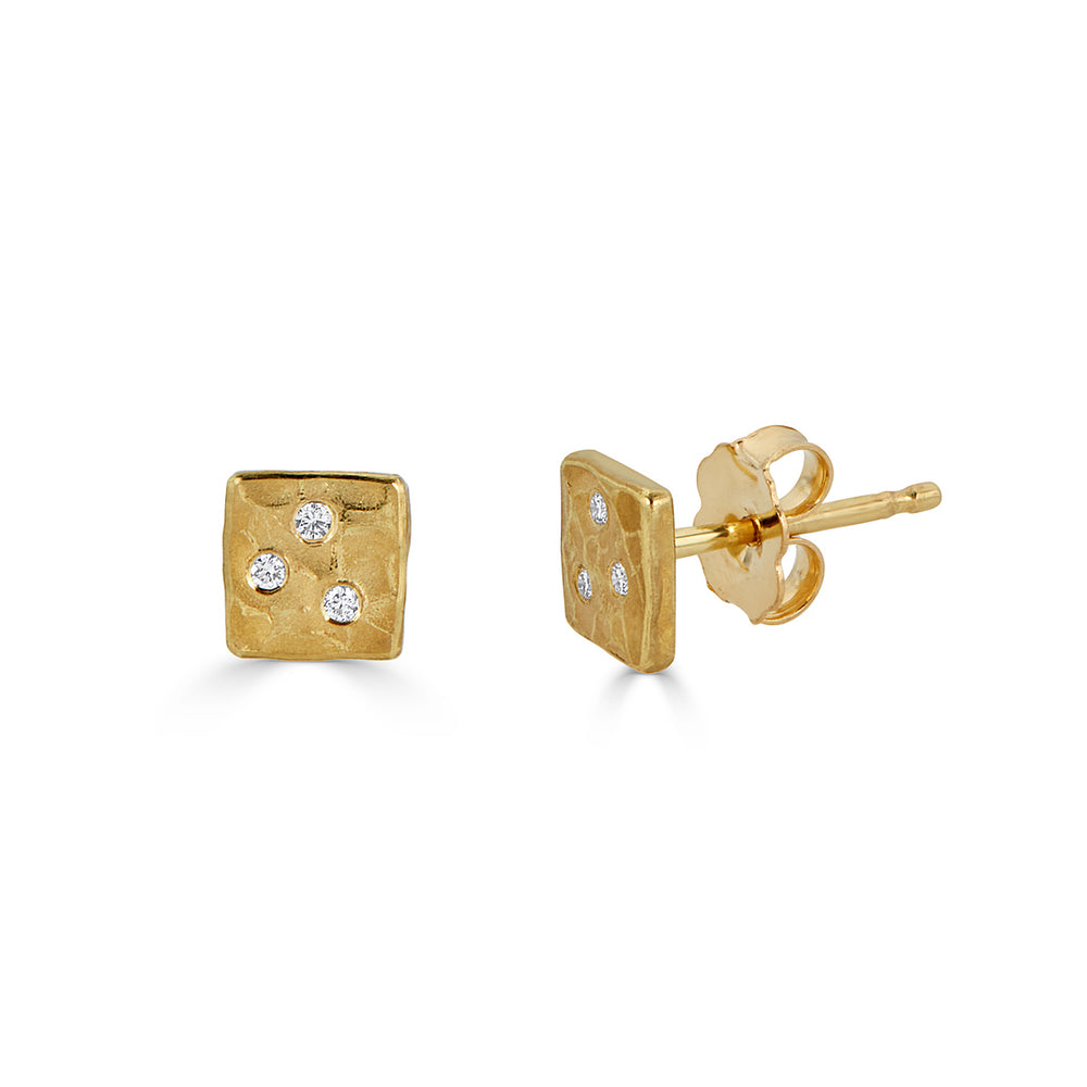 18K Yellow Gold with Diamonds Designer Studs on IndieFaves