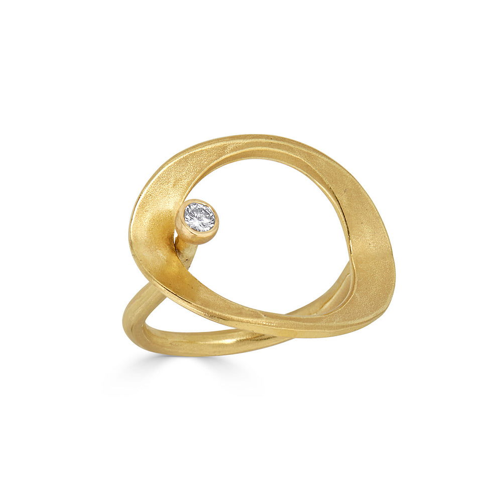 18K Gold and Suspended Diamond Designer Ring on IndieFaves