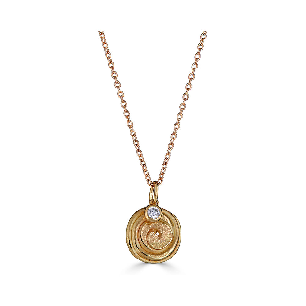 18K Gold and Diamond Spiral Designer Necklace on IndieFaves