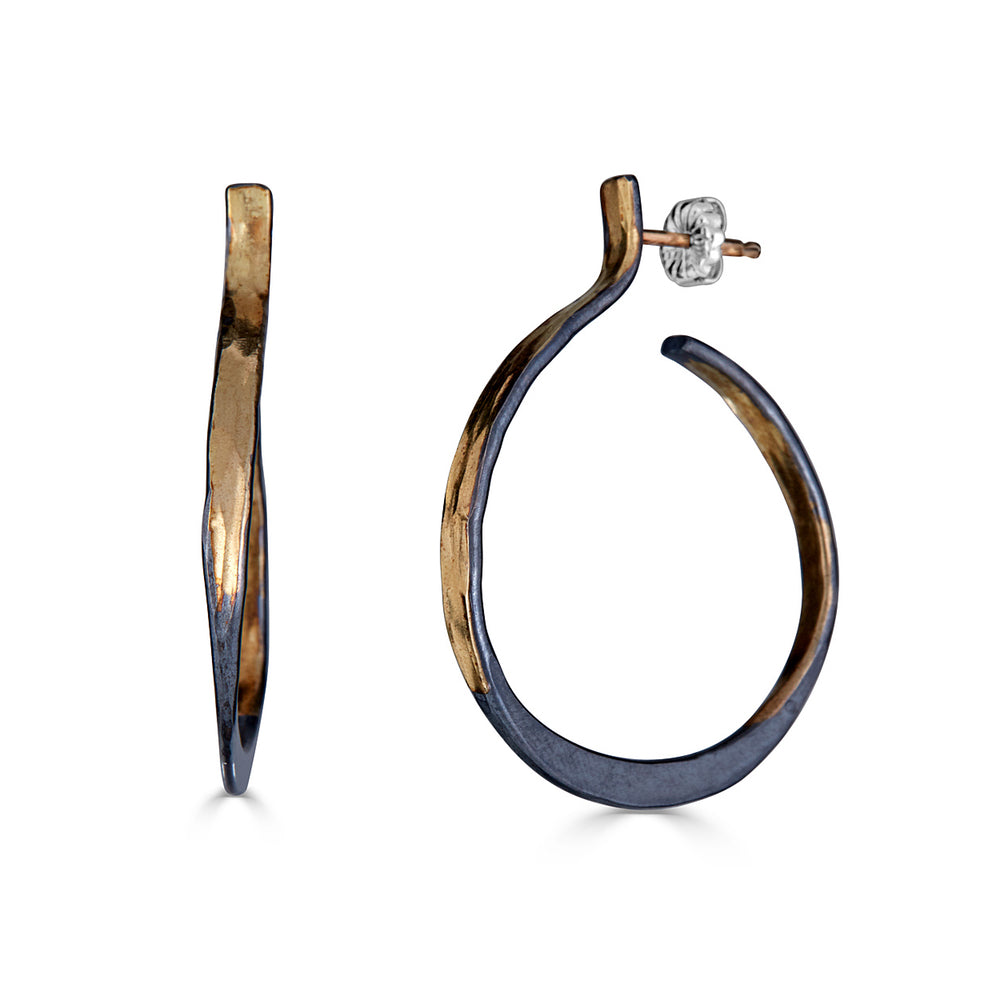 14K Gold and Sterling Silver Splash Designer Hoops on IndieFaves