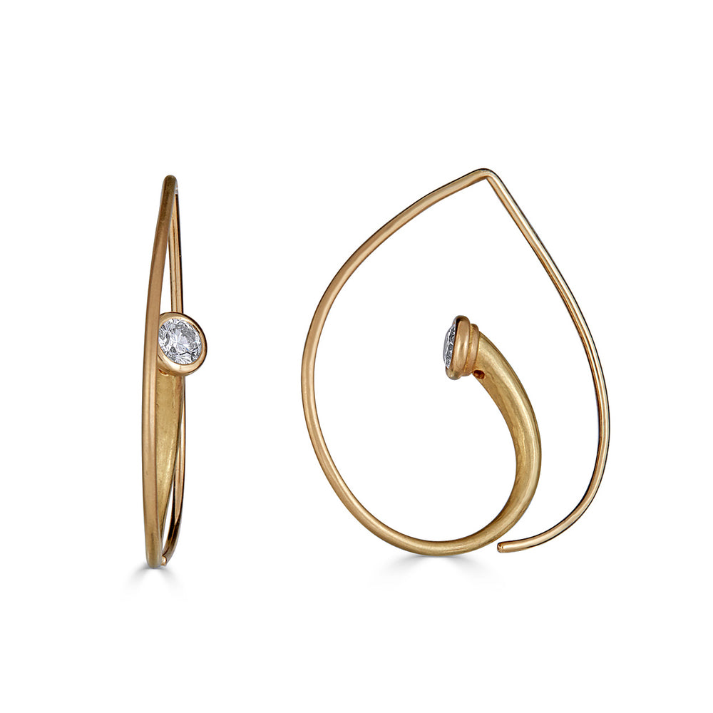 18K Gold with Diamonds Vortex Designer Earrings on IndieFaves