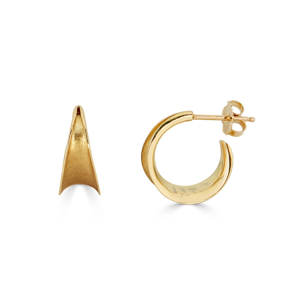 18K Yellow Gold Wide Designer Hoops on IndieFaves