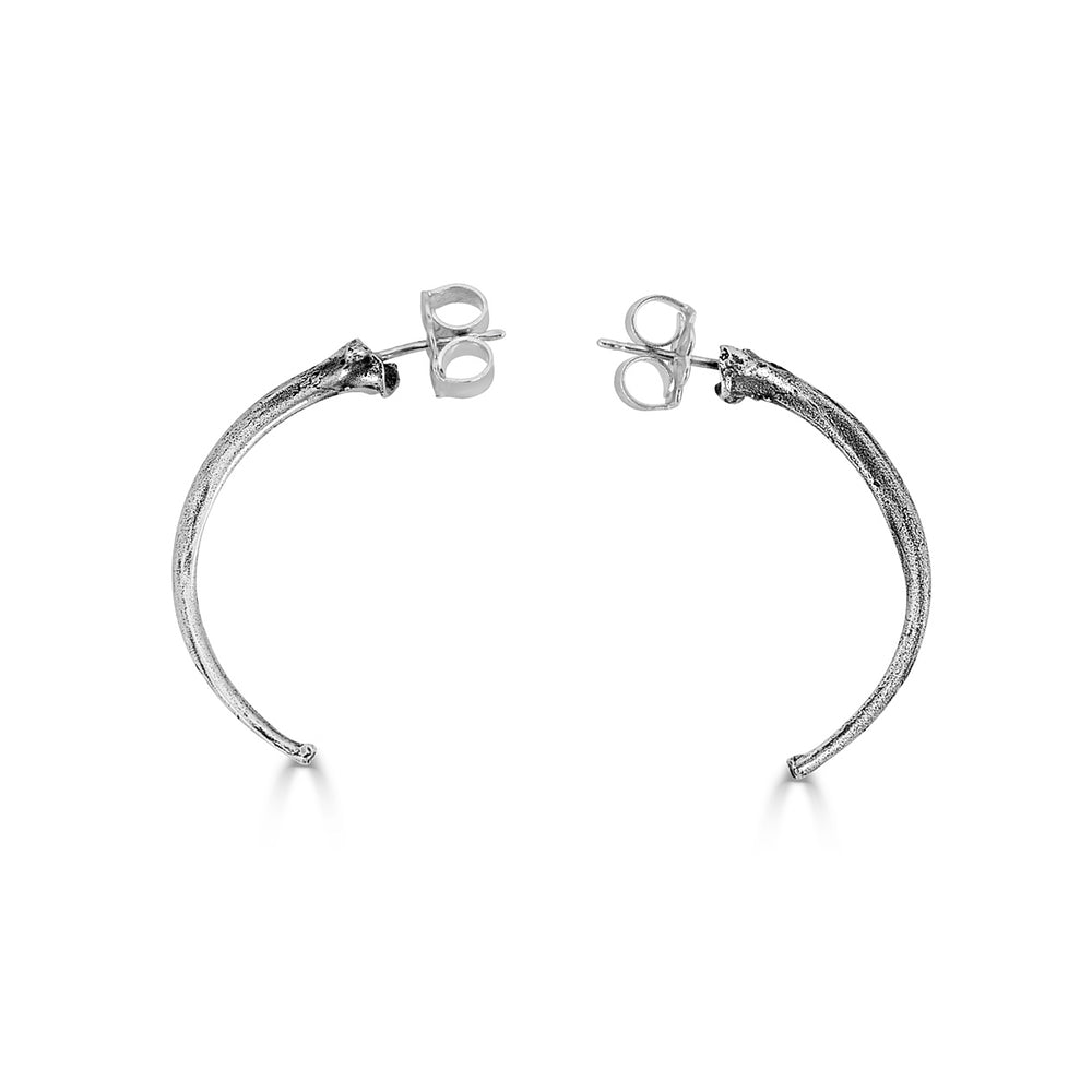 Birds N Bones - Crescent Shaped Python Rib Designer Hoops on IndieFaves