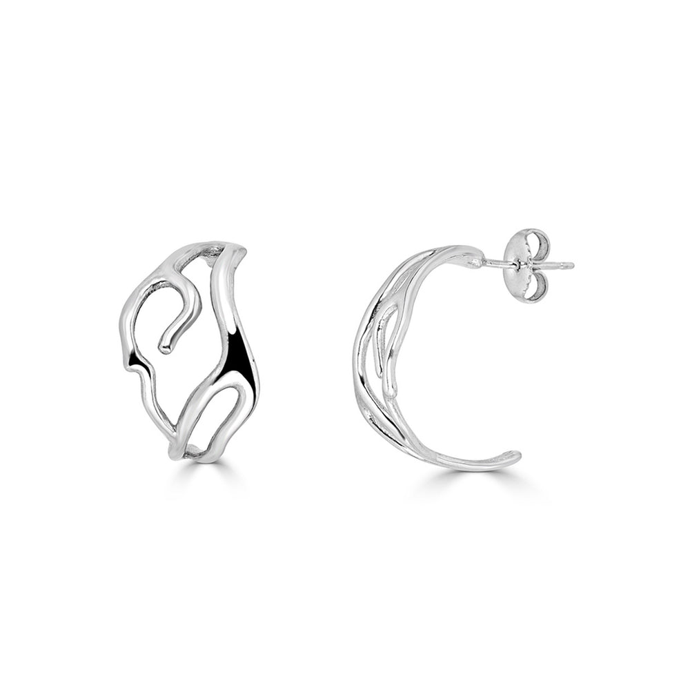 Rent Jewelry - Sterling Silver Coral Hoops