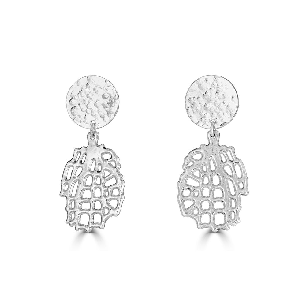 Rent Jewelry - Sterling Silver Dangle Sea Fan Earrings