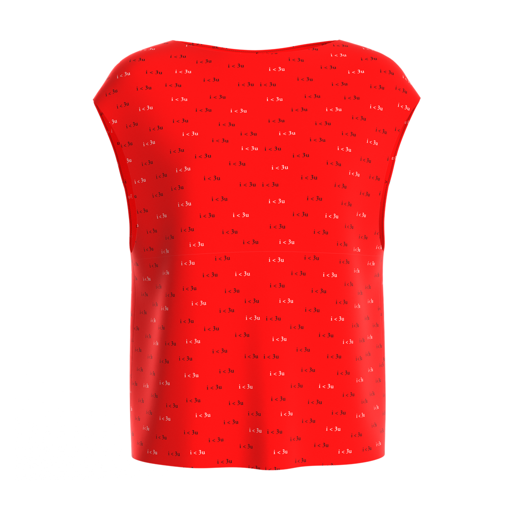 Boat Neck Blouse I Love You Red In Spandex Crepe
