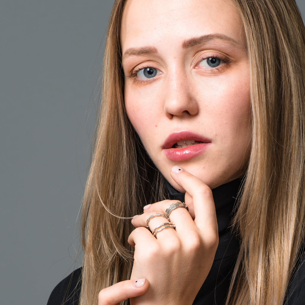 Model wearing Dream of Songs - Stacked Brick Designer Ring on IndieFaves