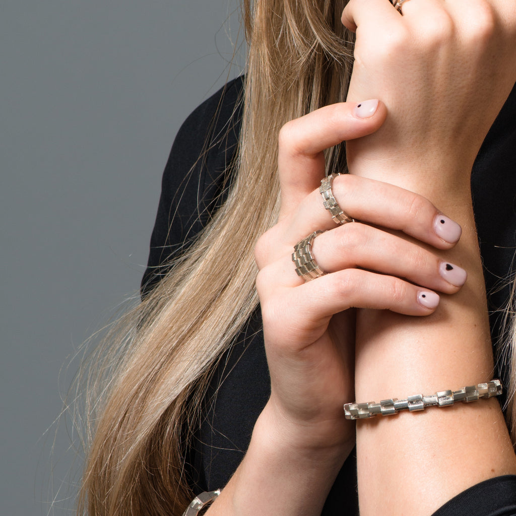 Model wearing Dream of Songs - Tall Brick Designer Ring on IndieFaves