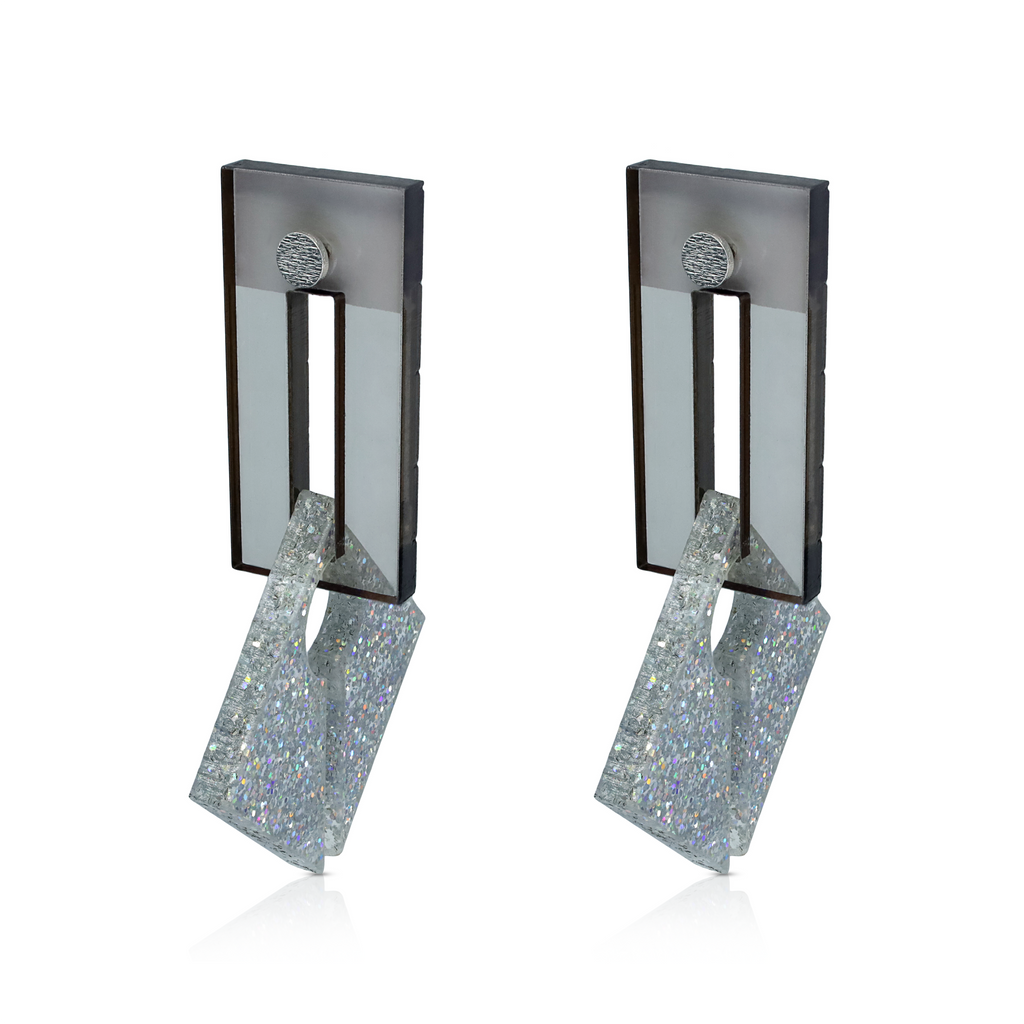 EMSO - Brown and Glitter Plexiglass and Silver Earrings