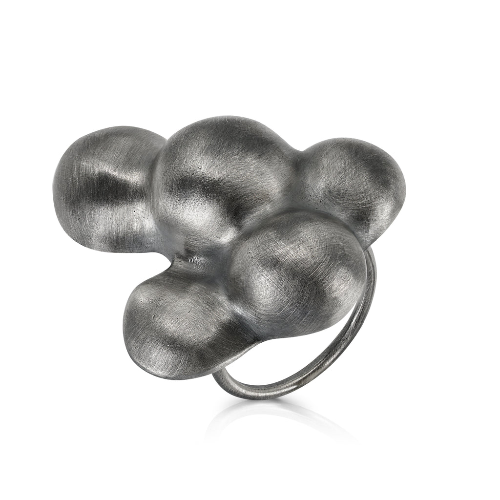 Elena Perez Sterling Silver and Patina Bubble Designer Ring I IndieFaves