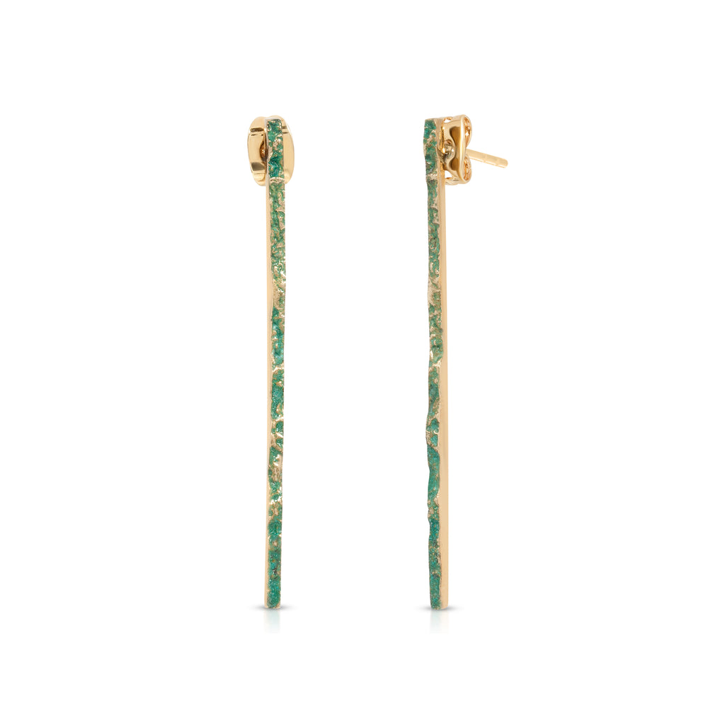 Elena Perez - Narrow Moss Designer Earrings on IndieFaves