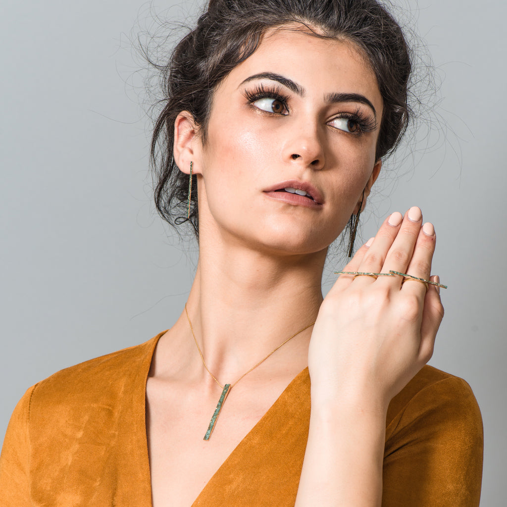 Model wearing Elena Perez - Narrow Moss Designer Earrings on IndieFaves