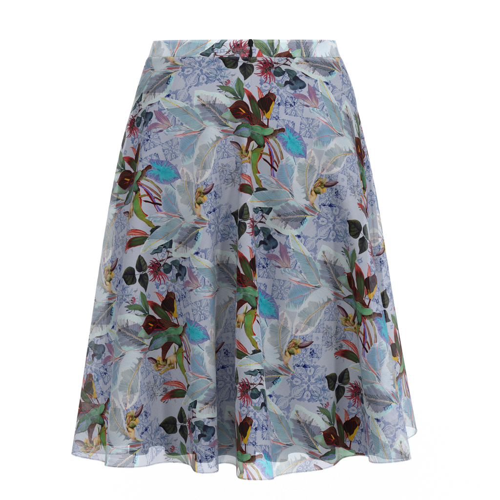 Flare Skirt Botanicals In Chiffon Back on IndieFaves