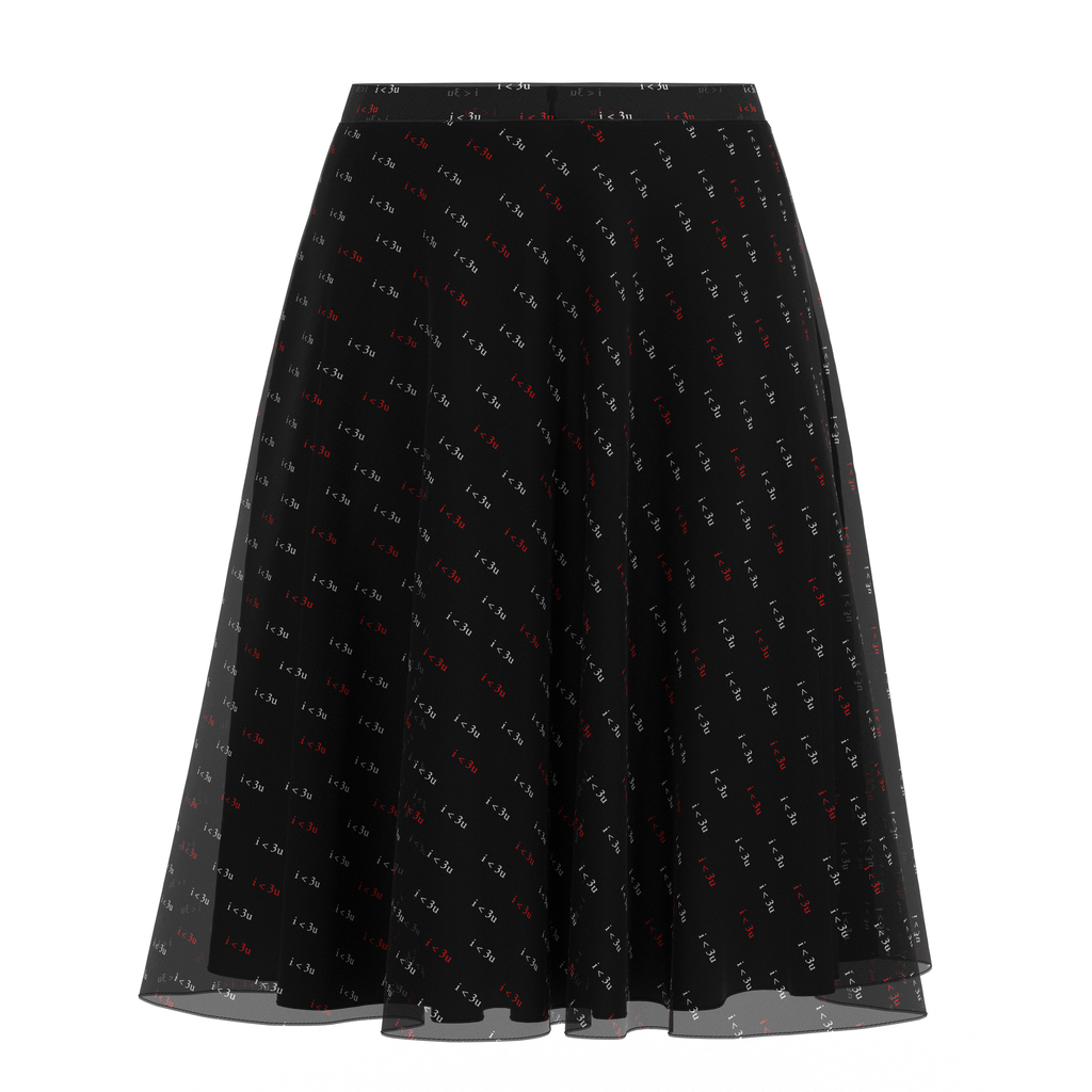 Flare Skirt I Love You Black In Chiffon Front on IndieFaves