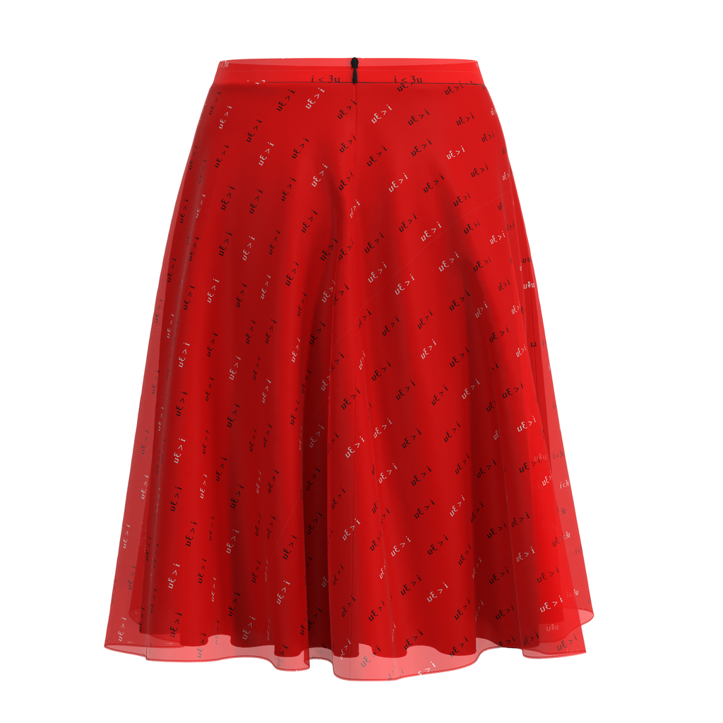 Flare Skirt I Love You Red In Chiffon Back on IndieFaves