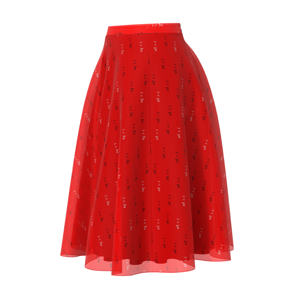 Flare I Love You Red Skirt In Chiffon
