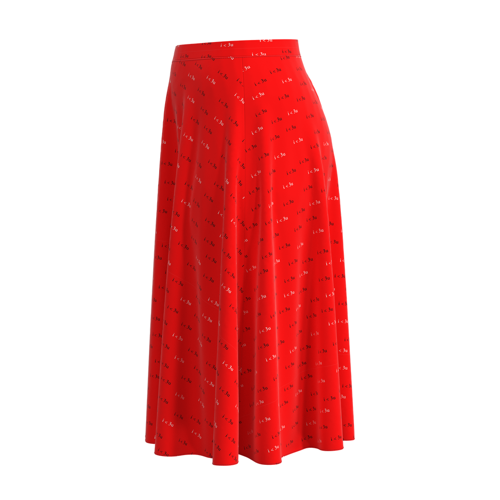 Flare I Love You Red Skirt