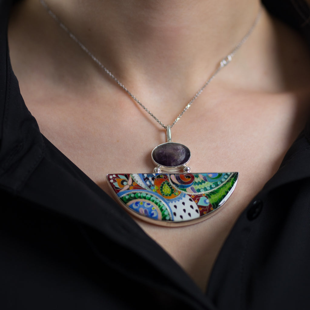 Model wearing Kimili - Sterling Silver and Enamel Nature Designer Pendant on IndieFaves