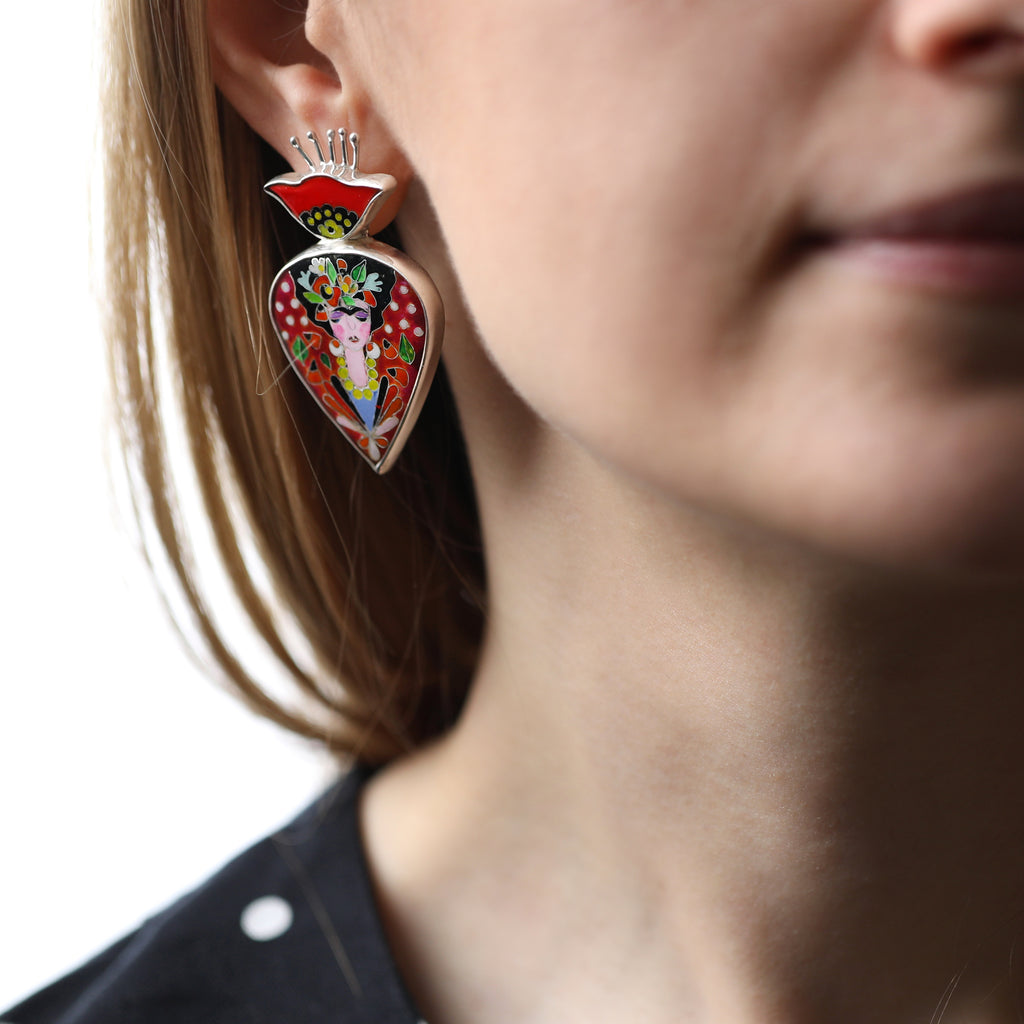 Model wearing Sterling Silver and Enamel Frida Inspired Designer Earrings on IndieFaves
