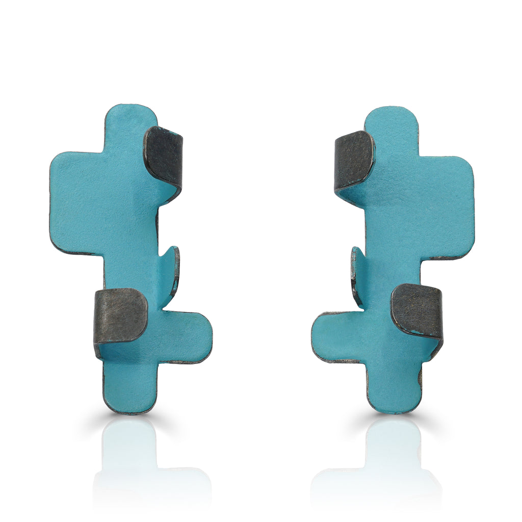 Gemma Canal - Plegs Earrings Shape 4 BlueGreen