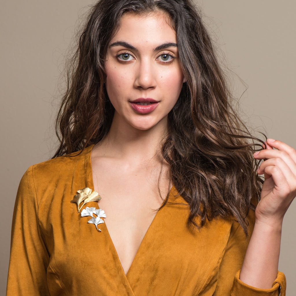 Model wearing Mara Soriano - Gingko 3 leaves Designer Brooch on IndieFaves