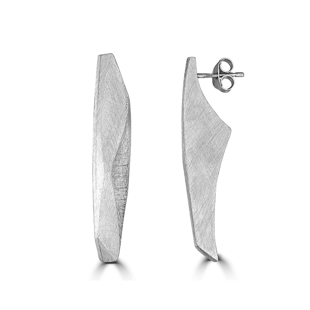 Silver Curvy Facets Designer Earrings on IndieFaves