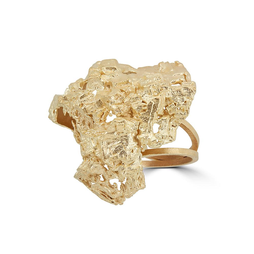 18K Gold-Plated Brass Fluorita Big Designer Ring on IndieFaves