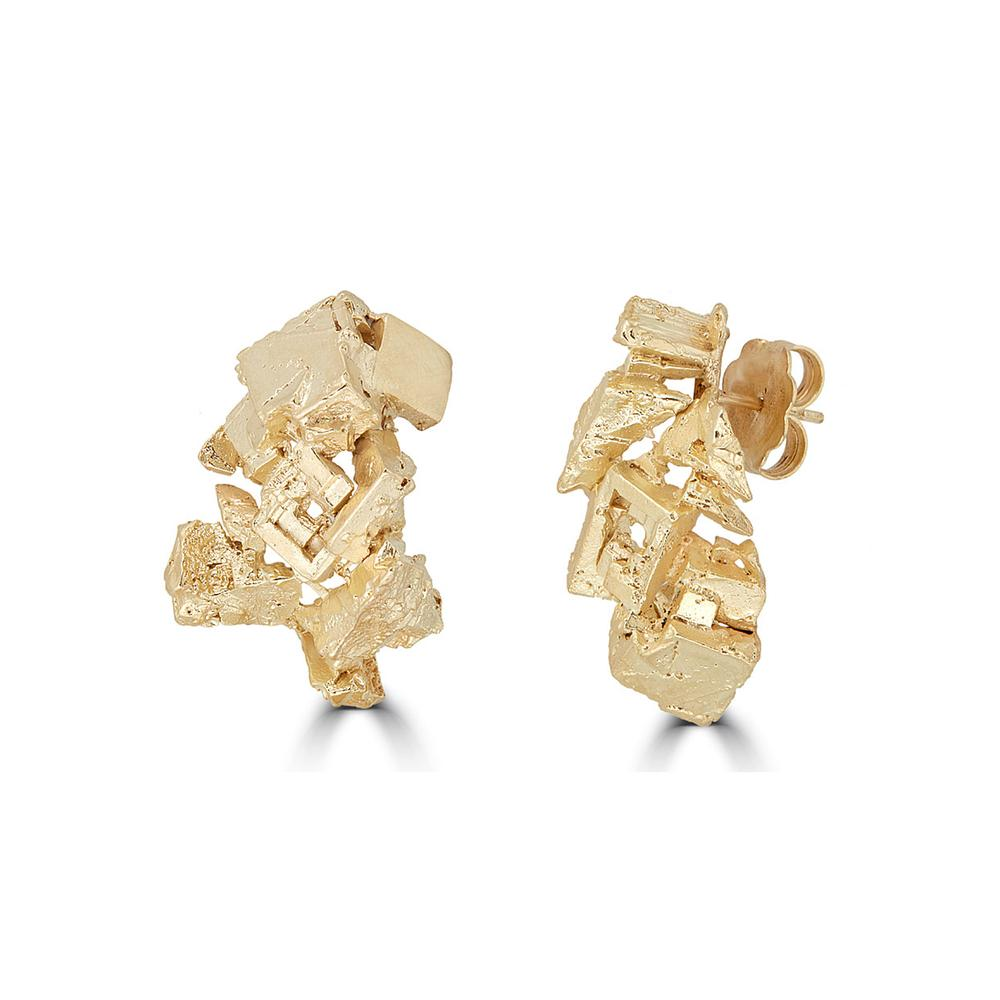 18K Gold-Plated Silver Fluorita Stud Designer Earrings on IndieFaves