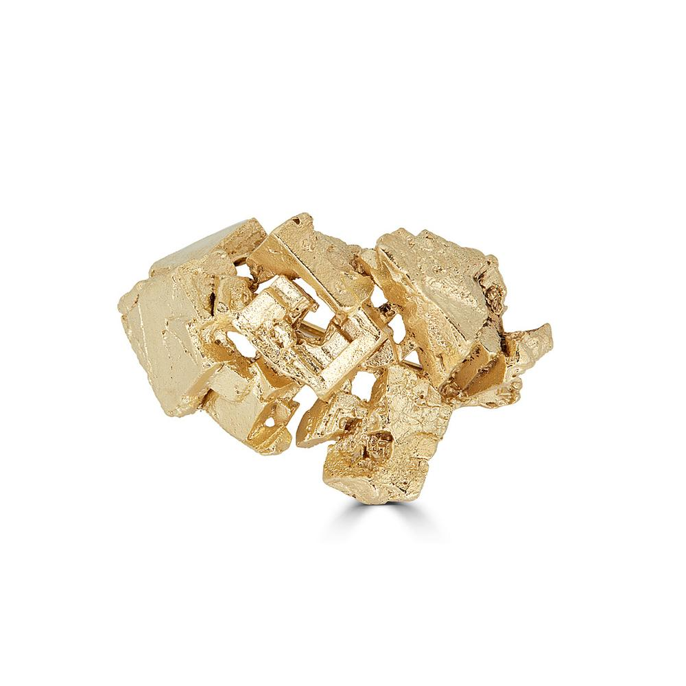18K Gold-Plated Brass Fluorita Designer Brooch on IndieFaves