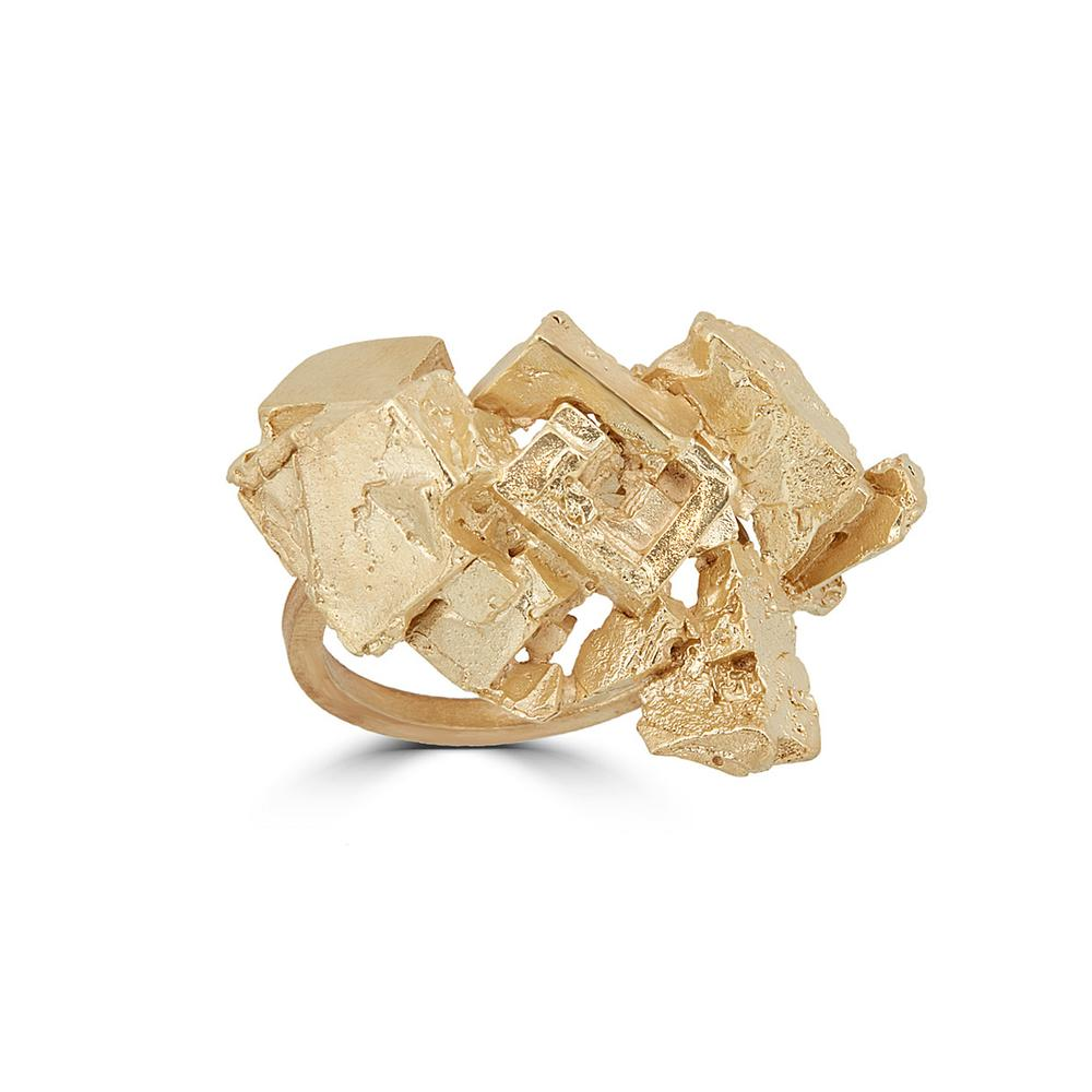 18K Gold-Plated Brass Fluorita Small Designer Ring on IndieFaves