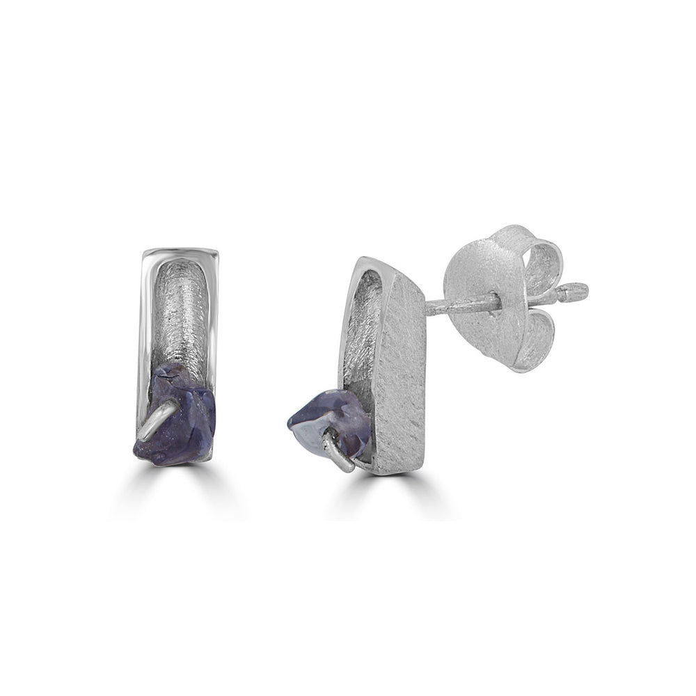 Silver One Stone Designer Earrings with Iolite Stones on IndieFaves