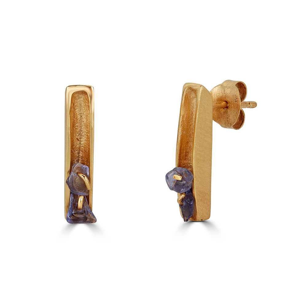 18K Gold-Plated Silver Designer Earrings with Iolite Stones on IndieFaves