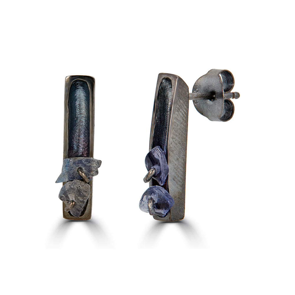 Two Stone Rhodium-Plated Silver Designer Earrings with Iolite Stones and Labradorite Stones on IndieFaves