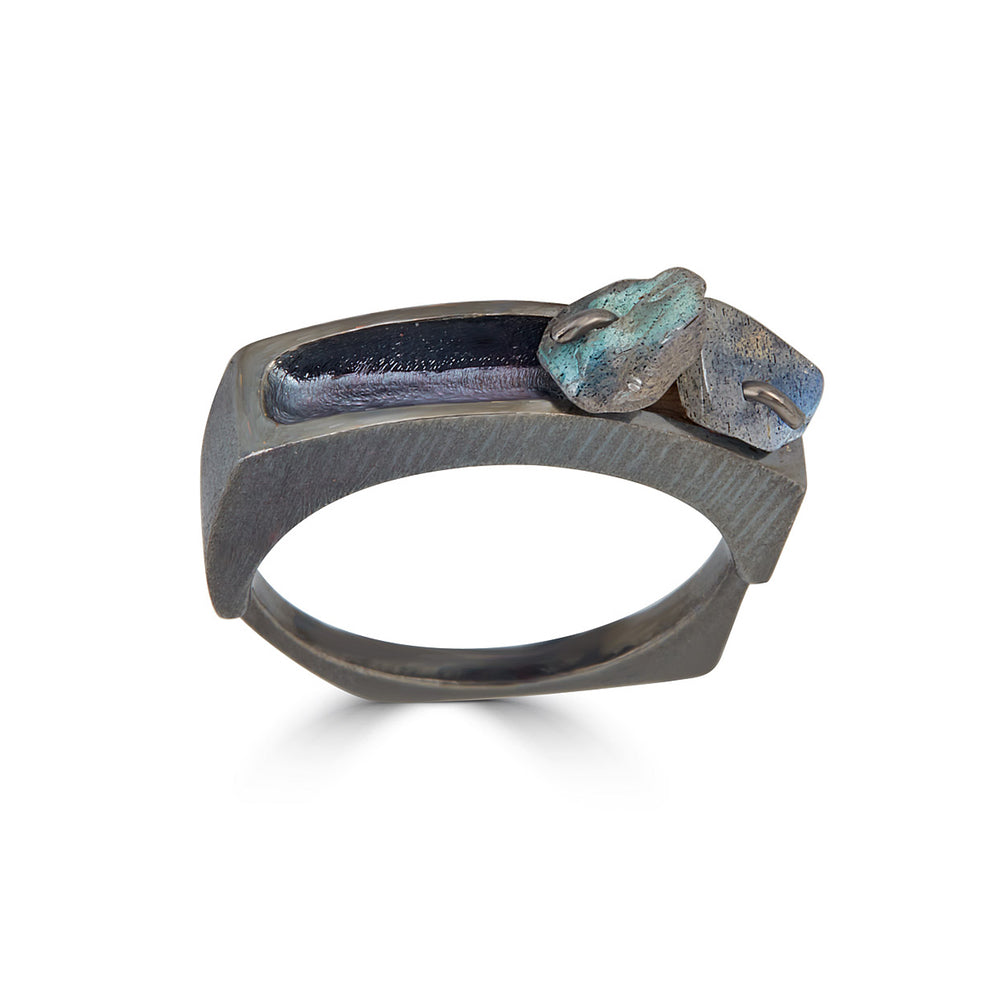 Rhodium-Plated Silver Designer Ring with Labradorite Stones on IndieFaves