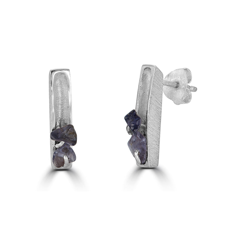 Silver Two Stone Designer Earrings with Iolite Stones on IndieFaves