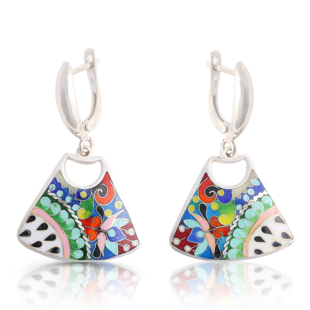 Sterling Silver and Enamel Nature Designer Earrings on IndieFaves