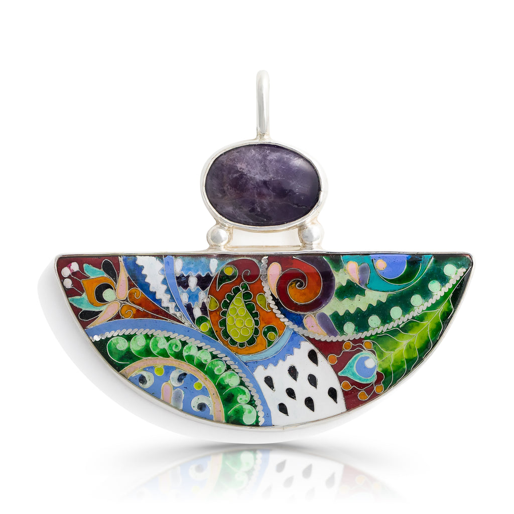 Kimili - Sterling Silver and Enamel Nature Designer Pendant on IndieFaves