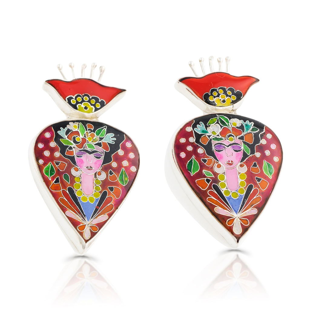 Sterling Silver and Enamel Frida Inspired Earrings on IndieFaves