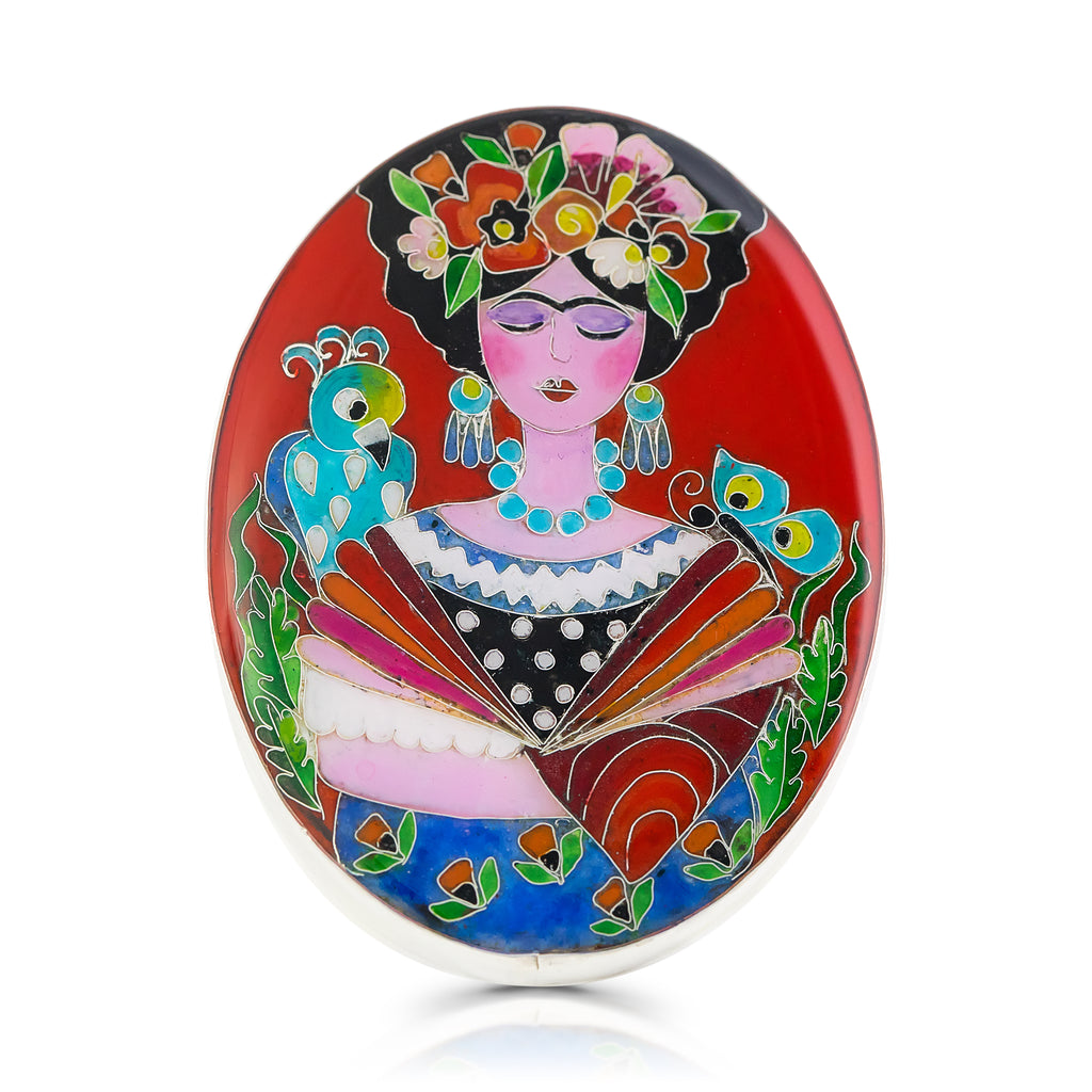 Kimili -Sterling Silver and Enamel Frida Inspired Designer Ring on IndieFaves