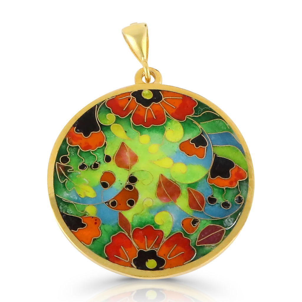 Sterling Silver and Enamel Poppies Designer Pendant on IndieFaves