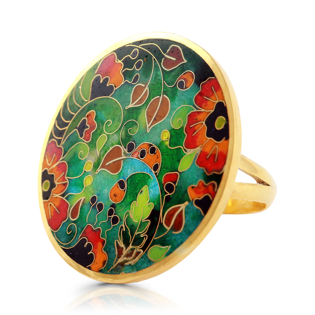 Sterling Silver and Enamel Poppies Designer Ring on IndieFaves