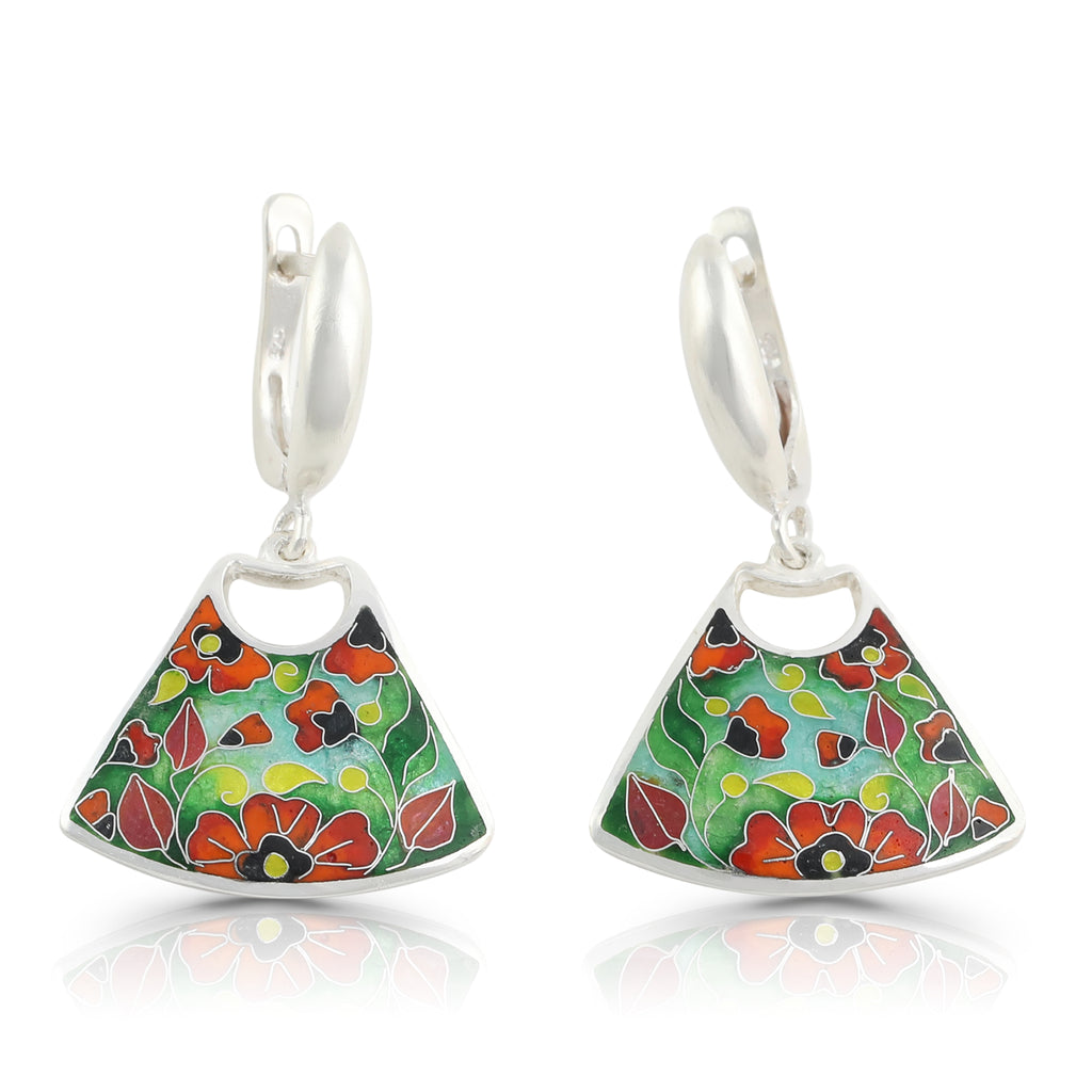 Kimili - Sterling Silver Vibrant Poppies Designer Earrings on IndieFaves