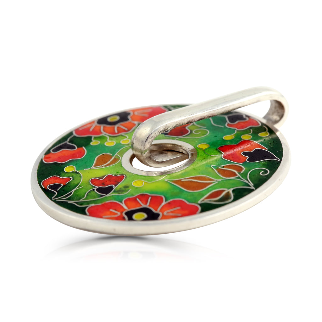 Sterling Silver Vibrant Poppies Pendant on IndieFaves