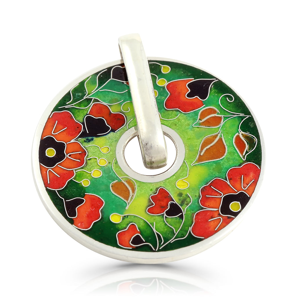 Sterling Silver Vibrant Poppies Designer Pendant on IndieFaves