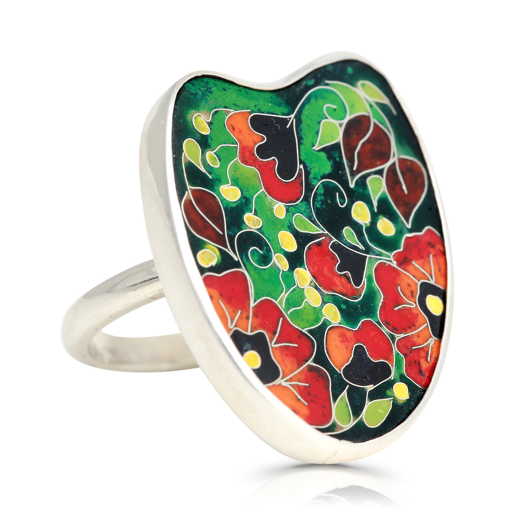 Sterling Silver Vibrant Poppies Designer Ring on IndieFaves