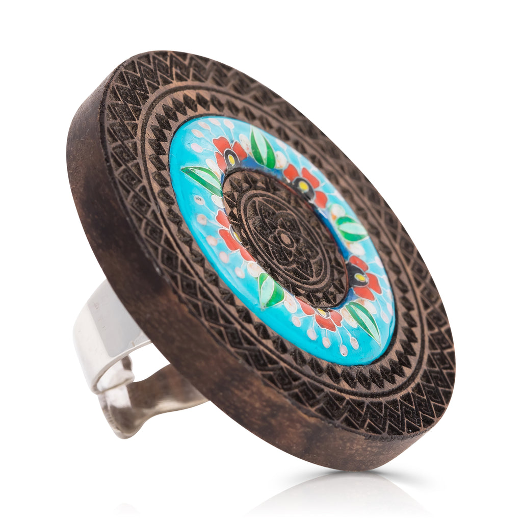 Wood and Enamel Unique Designer Ring on IndieFaves